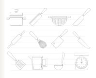 Cocinar iconos del equipo y de las herramientas Imagenes de archivo
