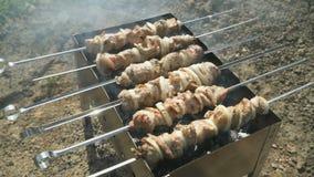 Cocinar kebabs deliciosos en los pinchos del metal en los carbones almacen de video