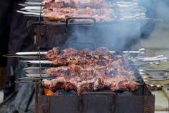 Cocinar kebabs en los carbones en el invierno Imagen de archivo libre de regalías