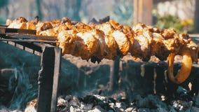 Cocinar kebabs en los pinchos sobre un fuego en naturaleza Cámara lenta almacen de metraje de vídeo