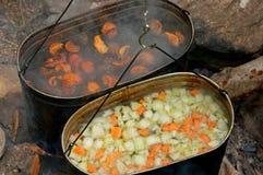 Cocinar la comida en la campaña imagen de archivo