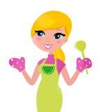 Cocinar a la madre que prepara el alimento verde sano stock de ilustración