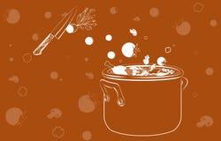 Cocinar la sopa con los vehículos Fotos de archivo