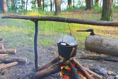 Cocinar la sopa de los pescados en el fuego imagenes de archivo