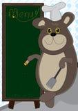 Cocinar la tarjeta del oso y del menú Fotos de archivo libres de regalías
