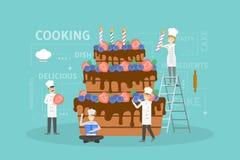 Cocinar la torta grande stock de ilustración