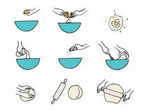 Cocinar las manos Preparación de la pasta stock de ilustración