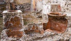 Cocinar los crisoles, Herculaneum foto de archivo libre de regalías