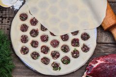 Cocinar los raviolis hechos en casa Imagenes de archivo