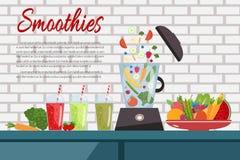 Cocinar los smoothies Placa por completo de verduras y de frutas mezclador libre illustration