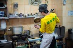 Cocinar los tallarines, Yokohama, Japón Imagen de archivo libre de regalías