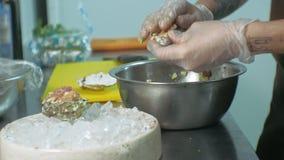 Cocinar platos de pescados en la cocina almacen de video