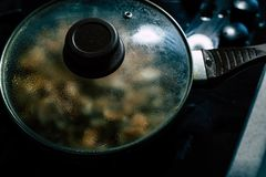 Cocinar setas: Champi?ones fotografía de archivo libre de regalías