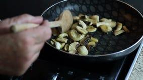 Cocinar setas Revolvimiento adentro de una cacerola metrajes