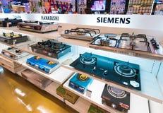 Cocinas de gas en venta, Siam Paragon Mall, Bangkok Foto de archivo libre de regalías