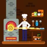 Cocine al panadero que cocina el ejemplo plano del diseño del fondo de la panadería del icono de la pizza Fotos de archivo libres de regalías