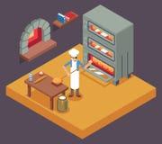 Cocine al panadero que cocina el icono isométrico del pan en el ejemplo plano del vector del diseño del fondo de la panadería Imágenes de archivo libres de regalías