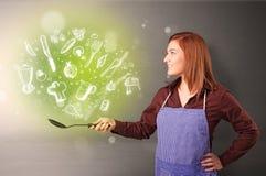 Cocine con las verduras verdes del garabato imagenes de archivo