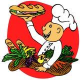 Cocine con un emparedado Foto de archivo libre de regalías