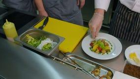 Cocine a los aprendices que miran al cocinero el añadir de la salsa y de las especias a la ensalada fresca con los camarones metrajes
