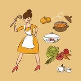 Cocine los elementos aislados garabato del diseño del bosquejo del ejemplo del vector de la sopa ilustración del vector