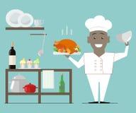 Cocinero African American que lleva a cabo un vector caliente f de la carne asada de Turquía del plato Imágenes de archivo libres de regalías