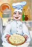 Cocinero alegre que da calor con su sonrisa y bolas de masa hervida deliciosas ilustración del vector