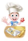 Cocinero Boy Baking de la historieta Fotos de archivo libres de regalías