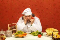 Cocinero cansado Foto de archivo libre de regalías