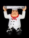 Cocinero cansado con la bandeja de la porción Imagen de archivo