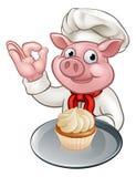 Cocinero Cartoon Character Mascot del panadero del cerdo Imagen de archivo libre de regalías
