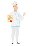 Cocinero caucásico joven del cocinero que sostiene un certificado stock de ilustración