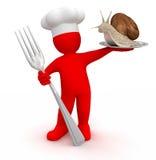 Cocinero con el caracol (trayectoria de recortes incluida) Imagen de archivo