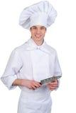 Cocinero con el cuchillo imagen de archivo