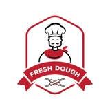 Cocinero con el logotipo fresco de la pasta del perno de rollo libre illustration