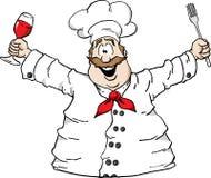 Cocinero con el vino y la fork Imagen de archivo libre de regalías