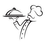 Cocinero con la bandeja Imágenes de archivo libres de regalías