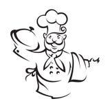 Cocinero con la bandeja Foto de archivo libre de regalías