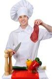 Cocinero con la carne imagenes de archivo