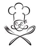 Cocinero con la cuchara y la bifurcación Foto de archivo libre de regalías