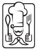 Cocinero con la cuchara y la fork Imágenes de archivo libres de regalías