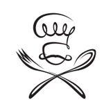 Cocinero con la cuchara y la fork Fotos de archivo