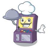 Cocinero con la m?quina de la arcada de la comida al lado de la tabla de la mascota ilustración del vector