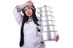 Cocinero con la pila de potes Imagen de archivo