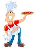 Cocinero con la pizza Foto de archivo libre de regalías