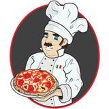 Cocinero con la pizza Imagenes de archivo