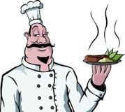 Cocinero con la placa del alimento Imagen de archivo libre de regalías
