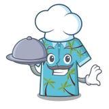 Cocinero con las camisas hawaianas de la comida dobladas en armario de la historieta stock de ilustración
