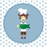 Cocinero con los pescados verdes ilustración del vector