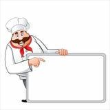 Cocinero con una muestra en blanco Imagen de archivo